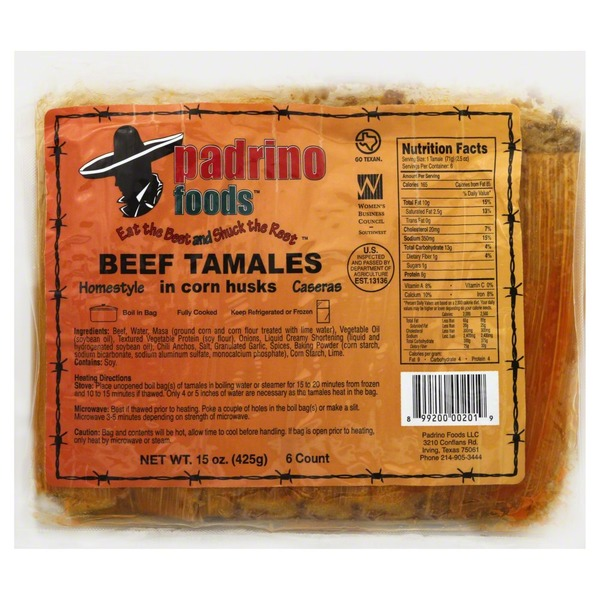 Padrino Foods Tamales, Beef, Homestyle, in Corn Husks