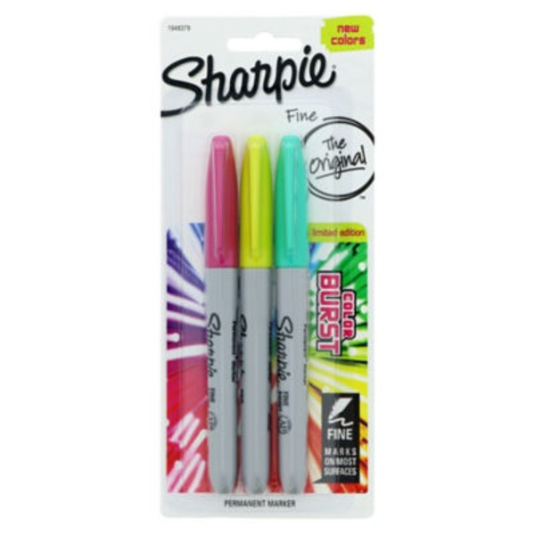 Sharpie Color Burst Permanent Marker Fine - 3 CT