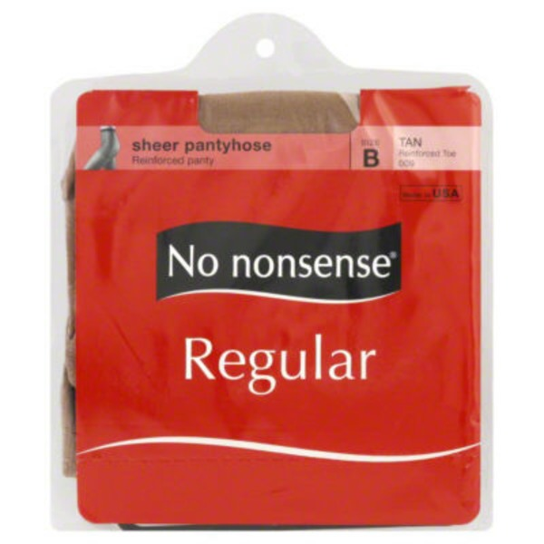 No Nonsense Pantyhose, Regular, Reinforced Toe, Size B, Tan