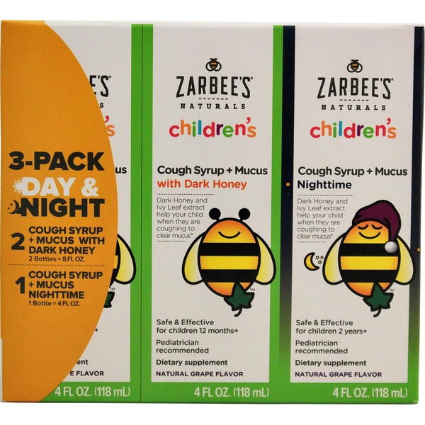 Zarbee's Naturals Children's Cough Syrup + Mucus With Dark Honey 3 Pack Day & Night