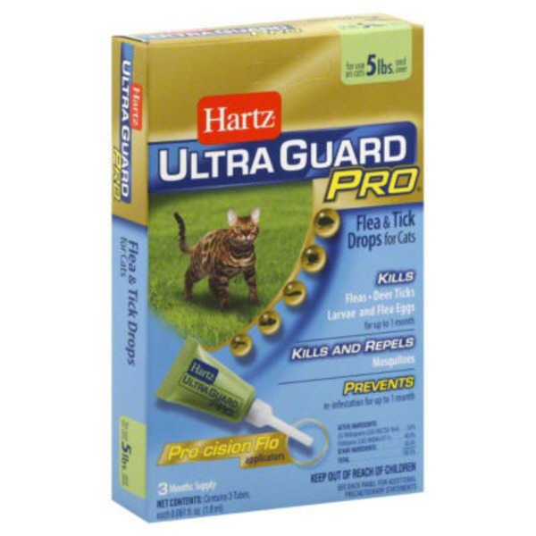 Hartz Ultra Guard Pro Flea & Tick Drops for Cats 5lbs - 3 CT