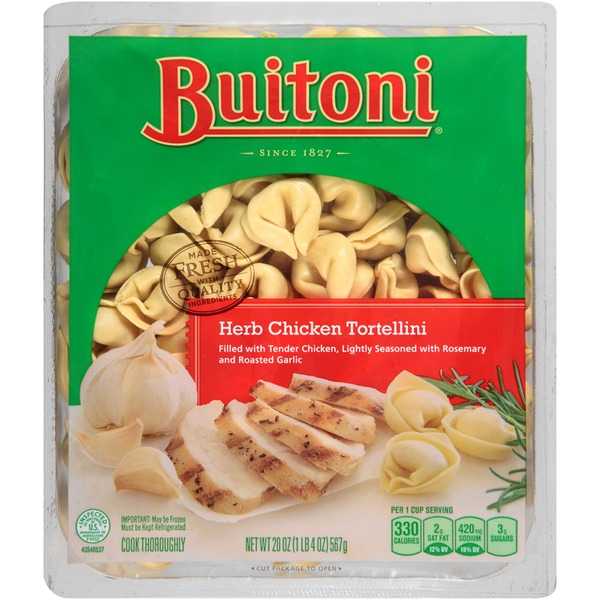 Buitoni Freshly Made. Filled with Tender Chicken,Lightly Seasoned with Rosemary and Roasted Garlic Family Size Herb Chicken Tortellini