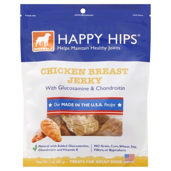 Happy Hips Treats for Adult Dogs, Chicken Breast Jerky