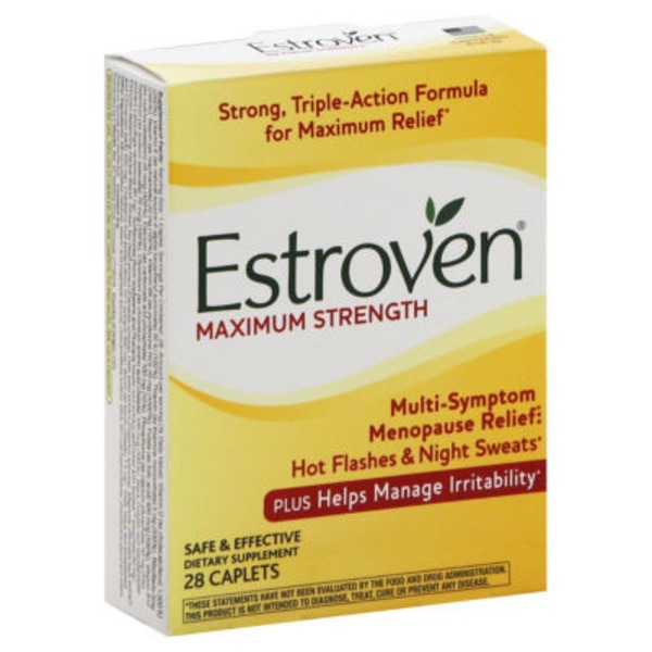 Estroven Maximum Strength + Energy Multi-Symptom Menopause Relief Dietary Supplement Caplets - 28 CT
