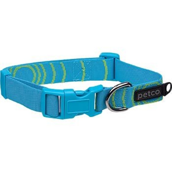 Petco Large Adjustable Sport Dog Collar In Blue & Green Stripes