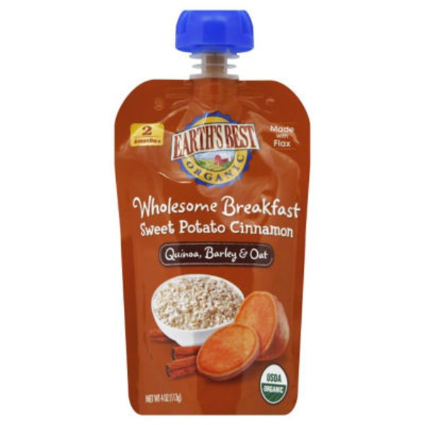 Earth's Best Organic Wholesome Breakfast Sweet Potato Cinnamon Quinoa, Barley & Oat