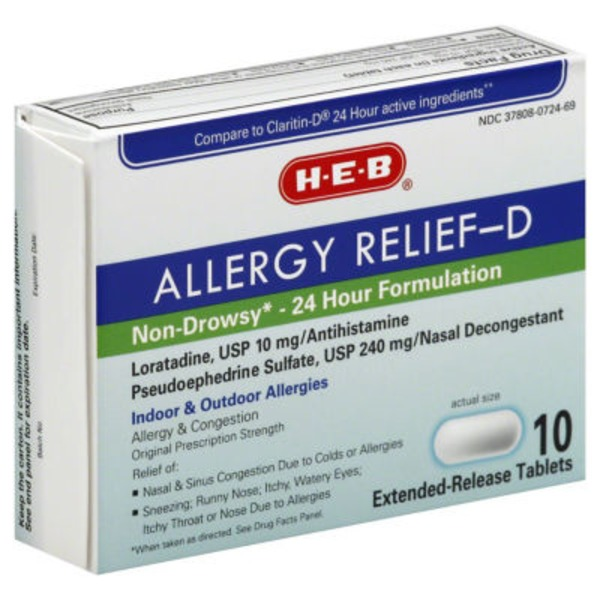 H-E-B Allergy Relief D 24 Hour Loratadine 10 Mg/Pseudoephedrine Sulfate 240 Mg Extended Release Tablets