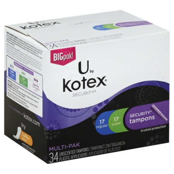 U by Kotex Security Regular/Super Multipak Tampons