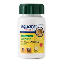 Equate Low Dose Aspirin Enteric Coated Tablets, 81 mg, 300 Ct
