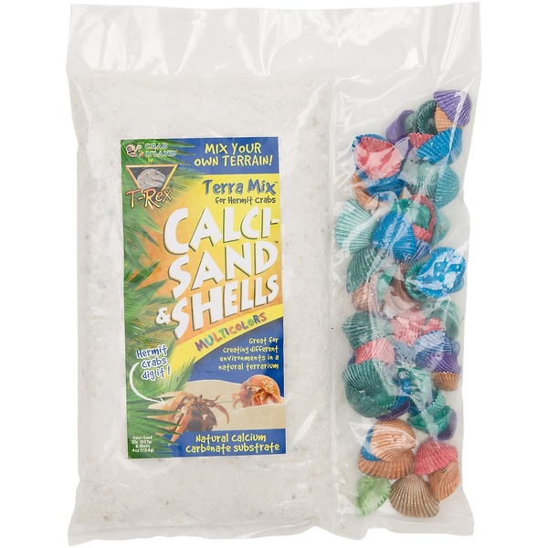 T-Rex Crab Island Terra Mix Hermit Crab Calci Sand & Multi Color Shells 2.25 Lbs.