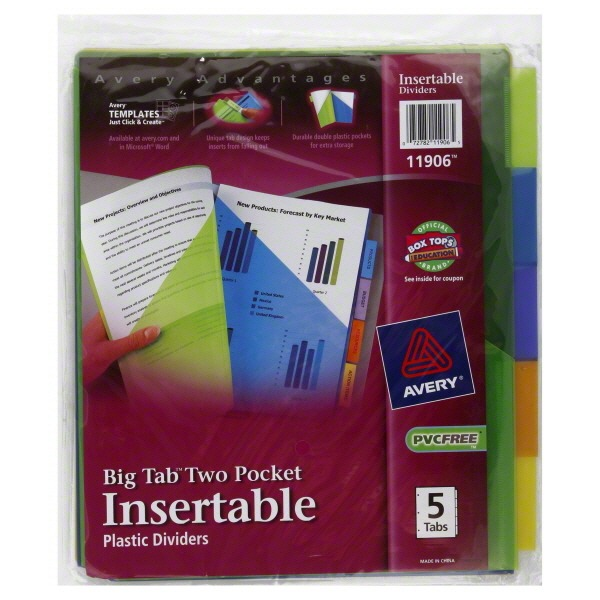 Avery Plastic Dividers, Insertable, Big Tab Two Pocket