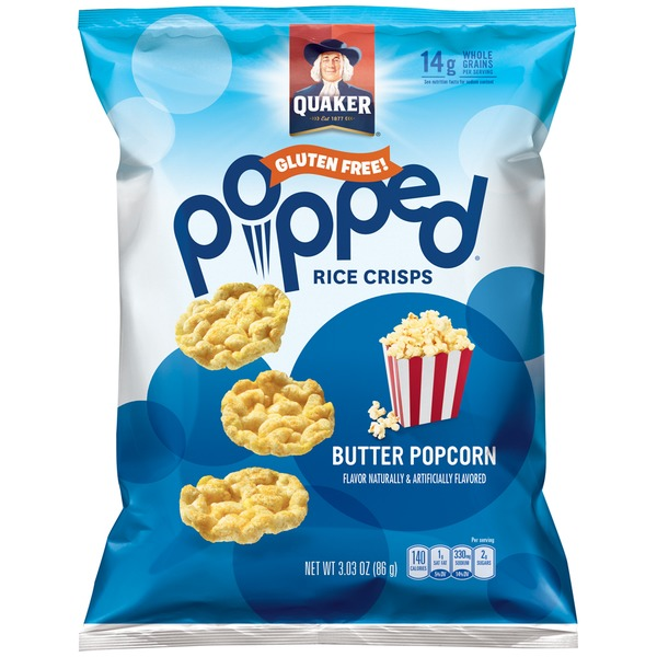 Popped Butter Popcorn Rice Crisps Snacks