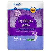 Equate Options Incontinence Pads for Women, Moderate, Long Length, 54 Ct