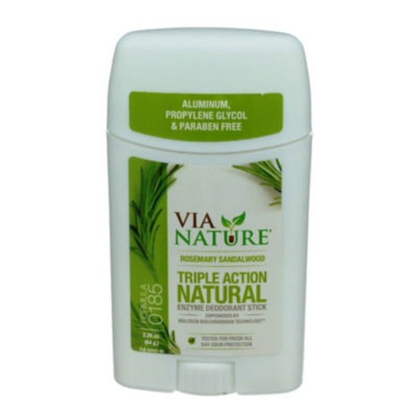 Via Nature Deodorant Stick, Enzyme, Triple Action Natural, Formula 0185, Rosemary Sandalwood