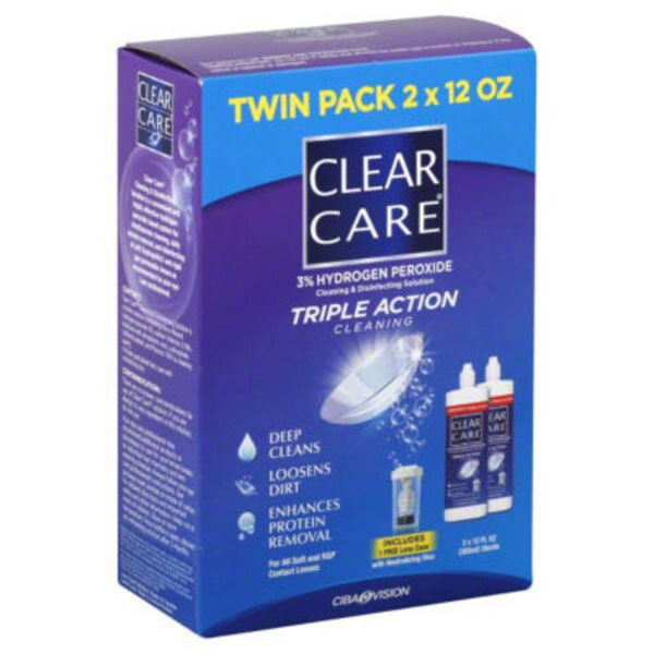 Ciba Vision Triple Action Clear Care Cleaning & Disinfection Solution, Twin Pack