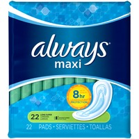 Always Maxi Always Maxi Size 2 Long Super Pads Without Wings, Unscented, 22 Count Feminine Care
