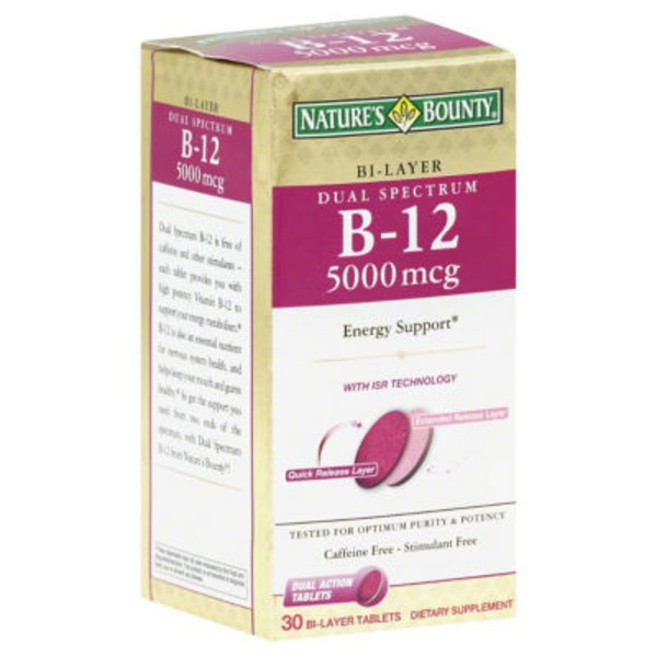 Nature's Bounty Dual Spectrum B-12 5000mcg - 30 CT