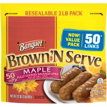 Banquet Brown 'N Serve, Maple Sausage Links, 6.4 Ounce, 50-Count