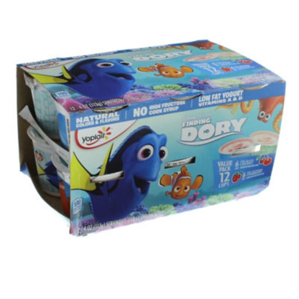 Yoplait Disney/Pixar Finding Dory Fin-Tastic Cherry/Sea-Sational Strawberry Variety Pack Low Fat Yogurt