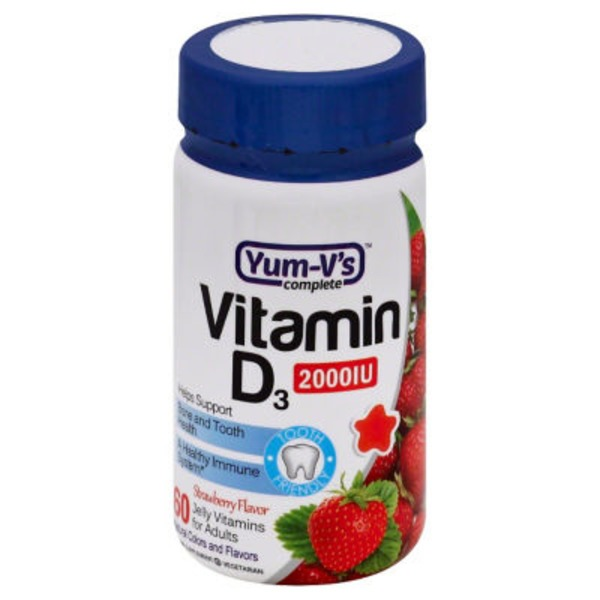 Yum V's Complete Adult Vitamin D3 2000 Iu Strawberry Jellies