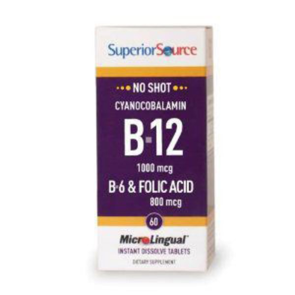 Superior Source B 12 1000 Mcg B 6 & Folic Acid 800 Mcg Instant Dissolve Tablets