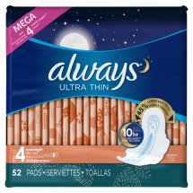 Always Ultra Thin Size 4 Overnight Pads with Wings, Unscented, (Choose your Count)