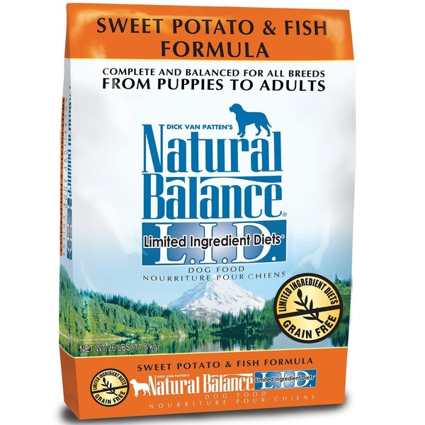 Dick Van Patten's Natural Balance Sweet Potato & Fish Formula Complete & Balanced For All Breeds From Puppies to Adults Limited Ingredient Diet Grain Free Dog Food