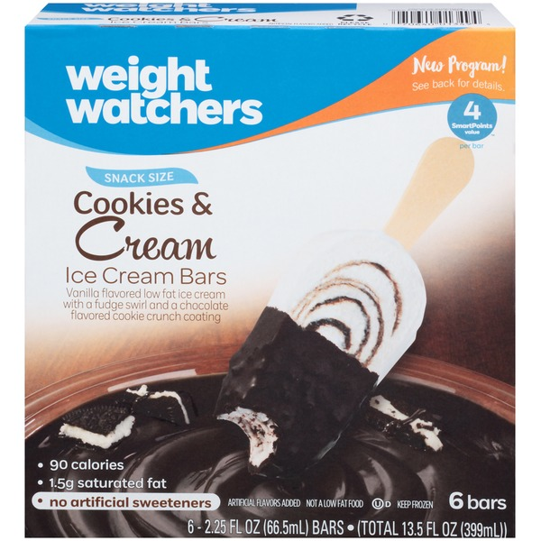 Weight Watchers Cookies & Cream Ice Cream Bars - 6 CT