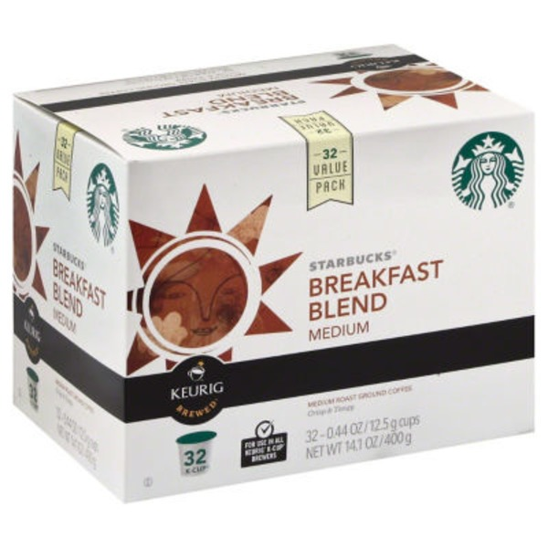 Starbucks Breakfast Blend Medium Roast Keurig Brewed K-Cups Ground Coffee