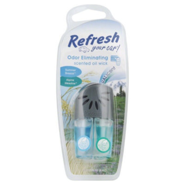 Refresh Your Car Dual Scent Odor Eliminating Vent Attachment Summer Breeze and Alpine Meadow