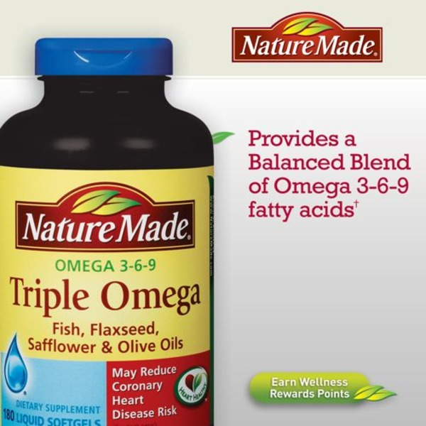 Nature Made Triple Omega 3 6 9 Fish Flaxseed Safflower Olive