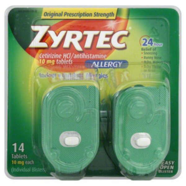 Zyrtec® Allergy 24 Hour 10mg (Individual Blisters) Tablets