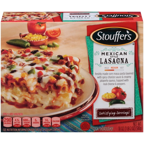 Stouffer's Satisfying Servings Freshly made corn masa pasta layered with spicy chorizo sauce & creamy jalapeno queso, topped with real cheese & peppers Mexican Style Lasagna