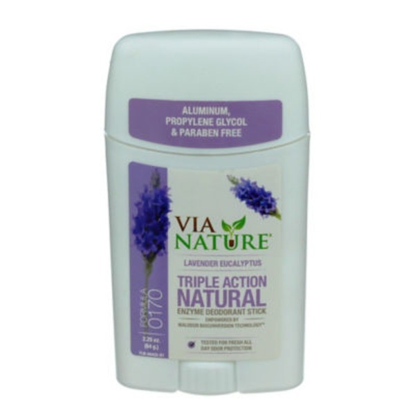 Via Nature Triple Action Natural Lavender Eucalyptus Deodorant Stick