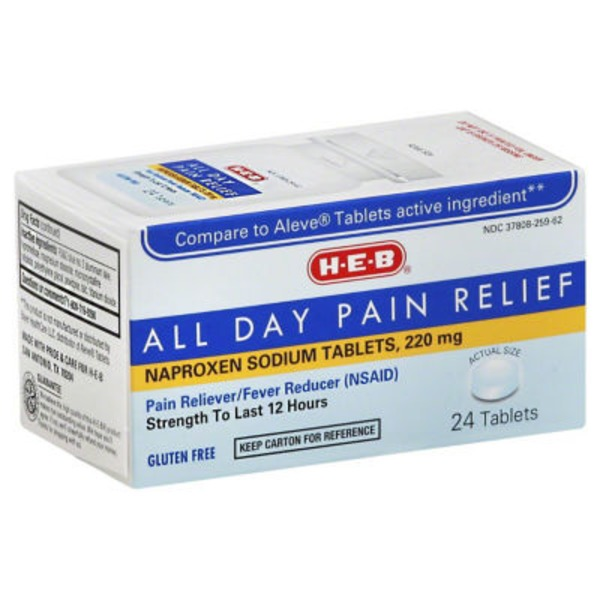 H-E-B All Day Pain Relief Naproxen Sodium 220mg Tablets