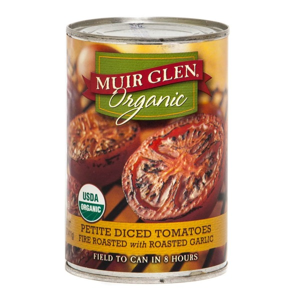 Muir Glen Organic Fire Roasted with Roasted Garlic Petite Diced Tomatoes