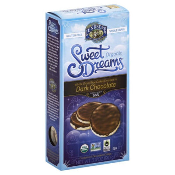 Lundberg Family Farms Sweet Dreams Whole Grain Enrobed in Dark Chocolate Organic Rice Cakes