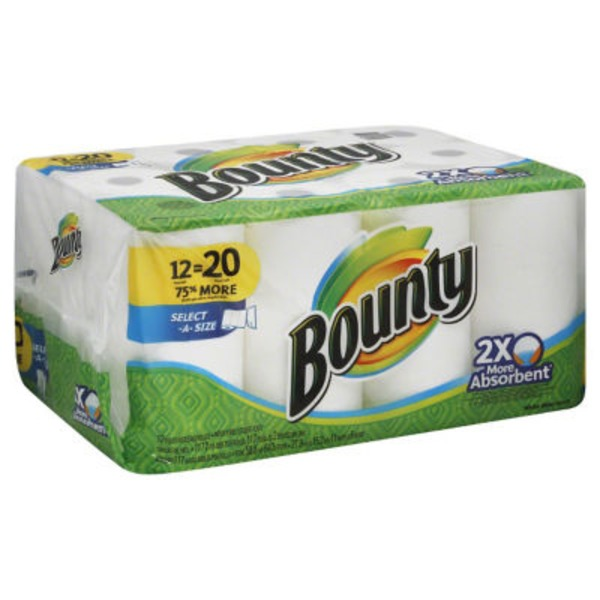 "Bounty Basic Select-A-Sizeâ""¢ Paper Towels, White, 12 Mega Rolls = 20 Regular Rolls Towels/Napkins"