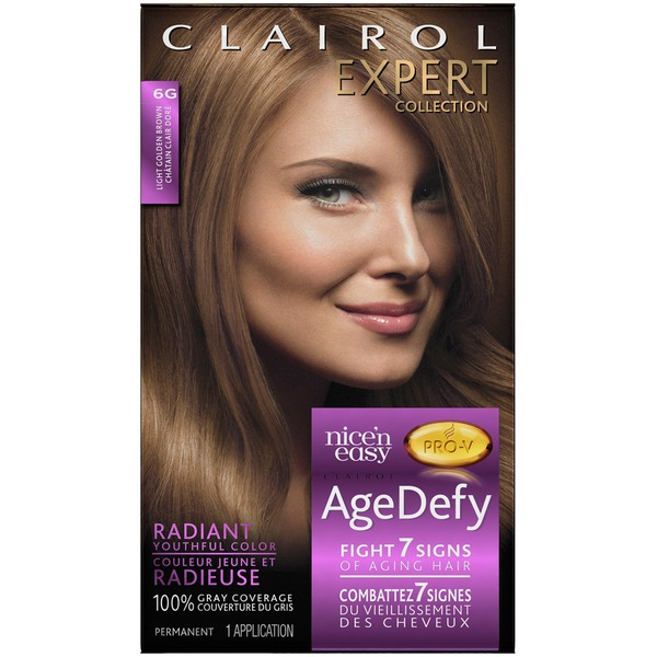Clairol Age Defy Clairol Expert Nice 'n Easy Age Defy Permanent Hair Color 6G Light Golden Brown 1 Kit  Female Hair Color