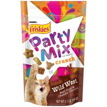 Purina Friskies Party Mix Crunch Wild West Cat Treats 2.1 oz. Pouch