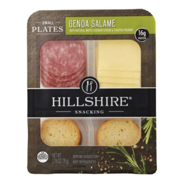 Hillshire Snacking Genoa Salame with Natural White Cheddar Cheese & Toasted Rounds Small Plates