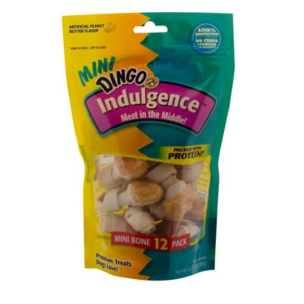 Dingo Indulgence Artificial Peanut Butter Flavor Mini Bone Treat for Dogs