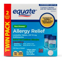 Equate Non-Drowsy Allergy Relief Loratadine Tablets, 10 mg, 60 Ct, 2 Pk