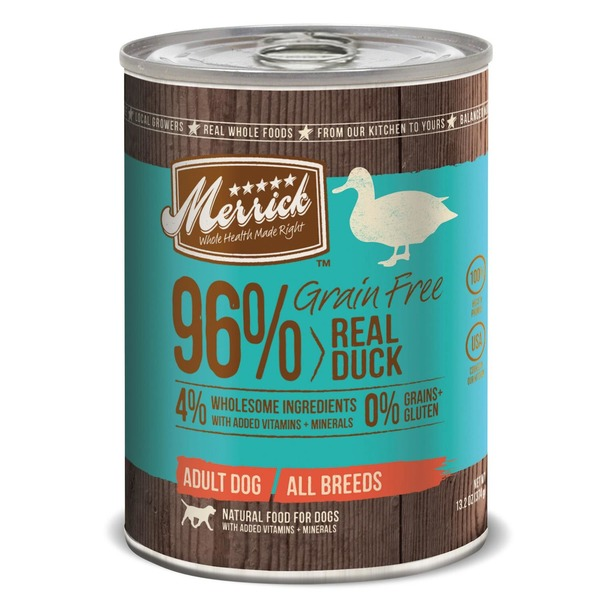 Merrick Grain Free 96% Real Duck 4% Wholesome Ingredients Adult All Breeds Natural Food for Dogs