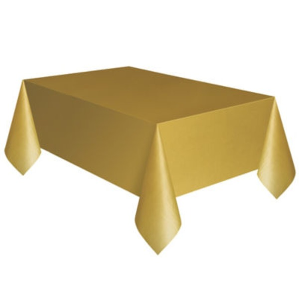 Unique Gold Plastic Table Cover
