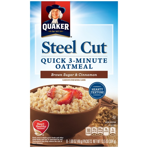 Quaker Oatmeal Steel Cut 3 Minute Brown Sugar & Cinnamon Oatmeal