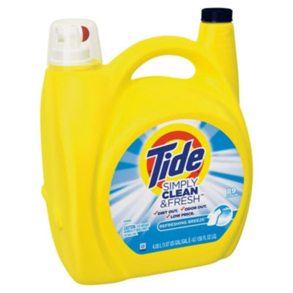 Tide Simply Clean & Fresh HE Liquid Laundry Detergent, Refreshing Breeze Scent, 89 Loads 138 Oz Laundry