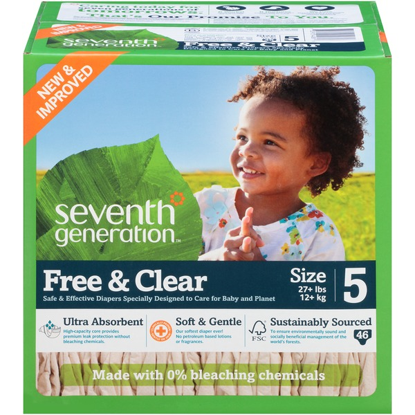 Seventh Generation Baby Free & Clear Size 5 27+ Lbs Diapers