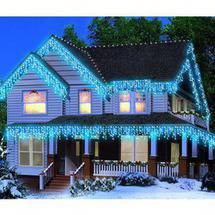 Holiday Time Icicle Christmas Lights Blue