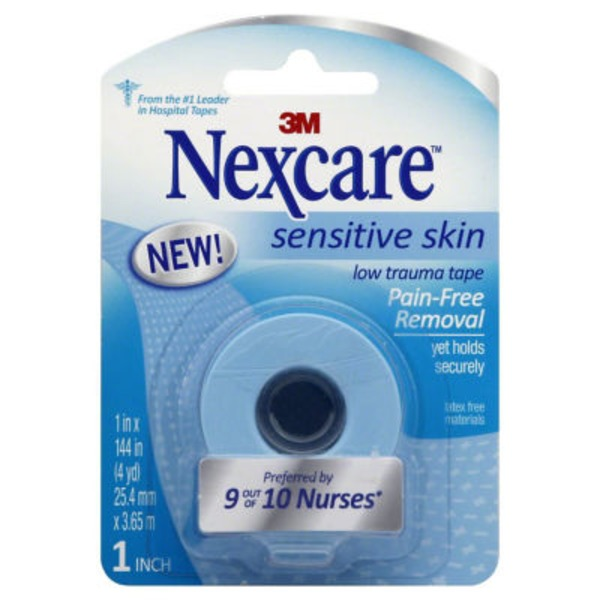 3M Nexcare Sensitive Skin Low Trauma Tape 1 Inch 4 YD